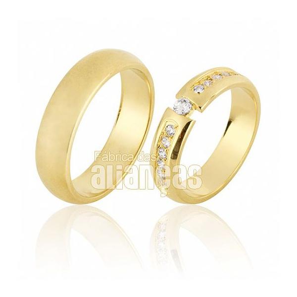 Alianças De Noivado e Casamento Em Ouro Amarelo 18k 0,750 Fa-640