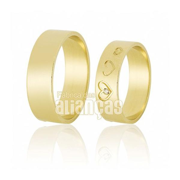 Alianças De Noivado e Casamento Em Ouro Amarelo 18k 0,750 Fa-642