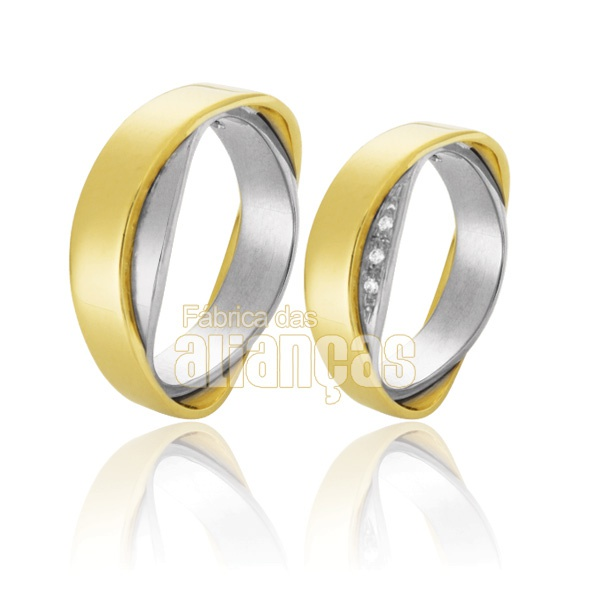 Aliança De Noivado e Casamento Em Ouro Branco 18k 0,750 Fa-649-b