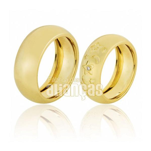 Alianças De Noivado e Casamento Em Ouro Amarelo 18k 0,750 Fa-652