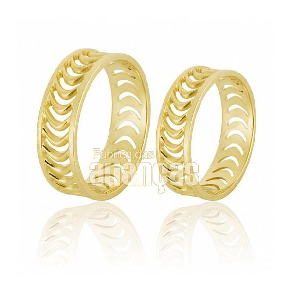 Alianças De Noivado e Casamento Em Ouro Amarelo 18k 0,750 Fa-653