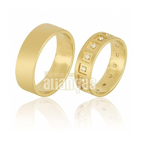 Alianças De Noivado e Casamento Em Ouro Amarelo 18k 0,750 Fa-660