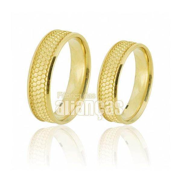 Alianças De Noivado e Casamento Em Ouro Amarelo 18k 0,750 Fa-668