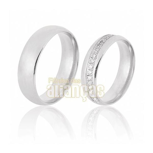 Aliança De Noivado e Casamento Em Ouro Branco 18k 0,750 Fa-670-b