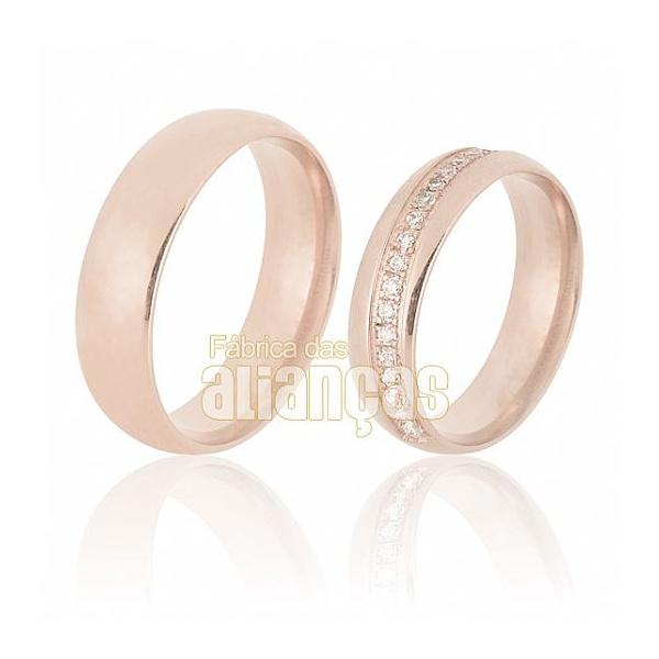 Aliança De Noivado e Casamento Em Ouro Rose 18k 0,750 Fa-670-r