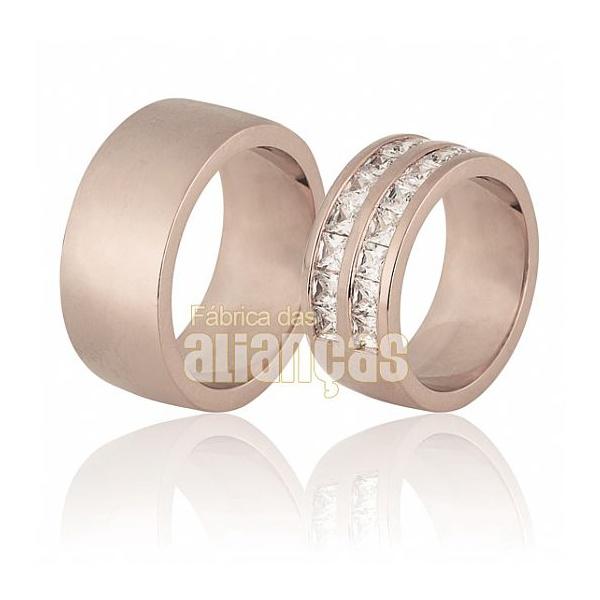 Aliança De Noivado e Casamento Em Ouro Rose 18k 0,750 Fa-672-r