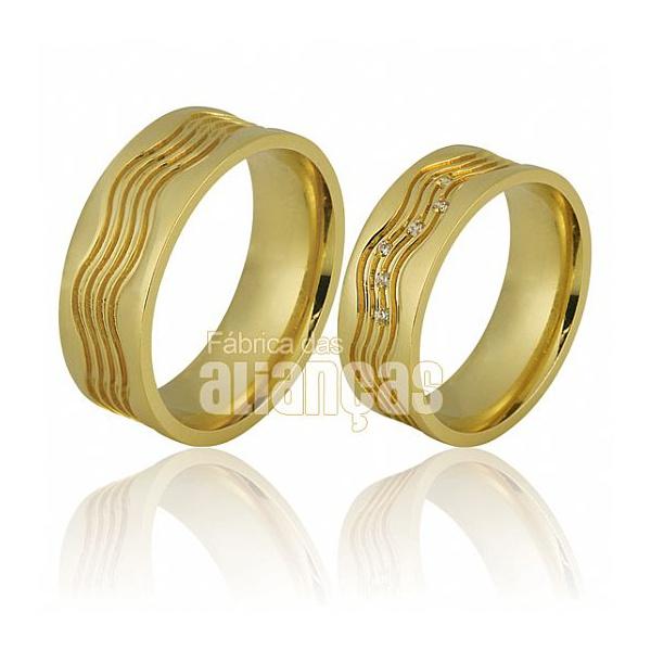 Alianças De Noivado e Casamento Em Ouro Amarelo 18k 0,750 Fa-676