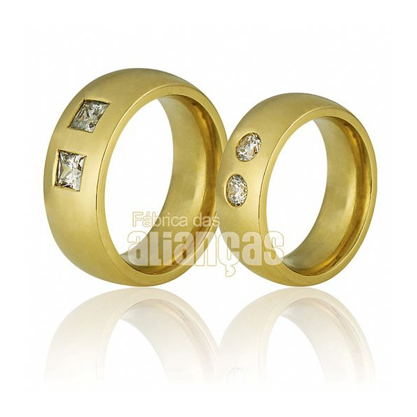 Alianças De Noivado e Casamento Em Ouro Amarelo 18k 0,750 Fa-679