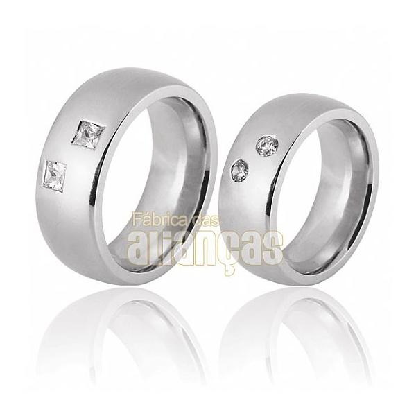 Aliança De Noivado e Casamento Em Ouro Branco 18k 0,750 Fa-683-b
