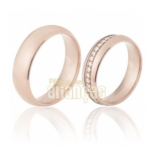 Alianças De Noivado e Casamento Em Ouro Rose 18k 0,750 Fa-690-r - FA-690-R - Fábrica das Alianças