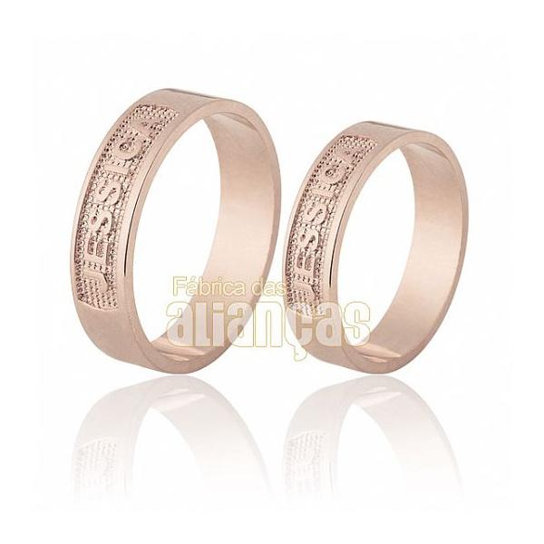 Alianças De Noivado e Casamento Em Ouro Rose 18k 0,750 Fa-691-r - FA-691-R - Fábrica das Alianças