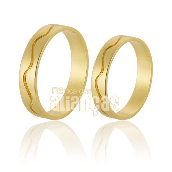 Alianças De Noivado e Casamento Em Ouro Amarelo 18k 0,750 Fa-699