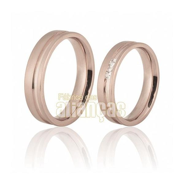 Alianças De Noivado e Casamento Em Ouro Rose 18k 0,750 Fa-700-r