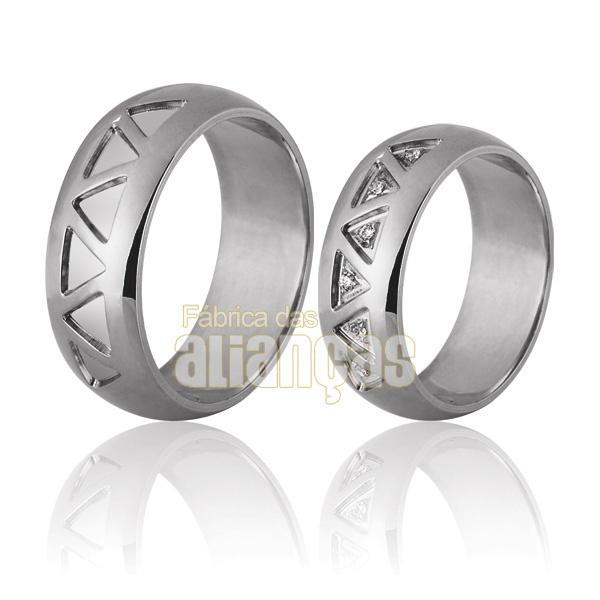 Alianças De Noivado e Casamento Em Ouro Branco 18k 0,750 Fa-702-b