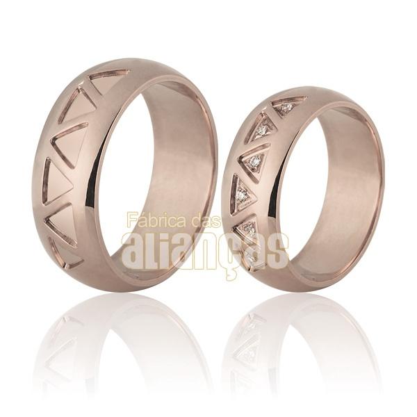 Alianças De Noivado e Casamento Em Ouro Rose 18k 0,750 Fa-702-r