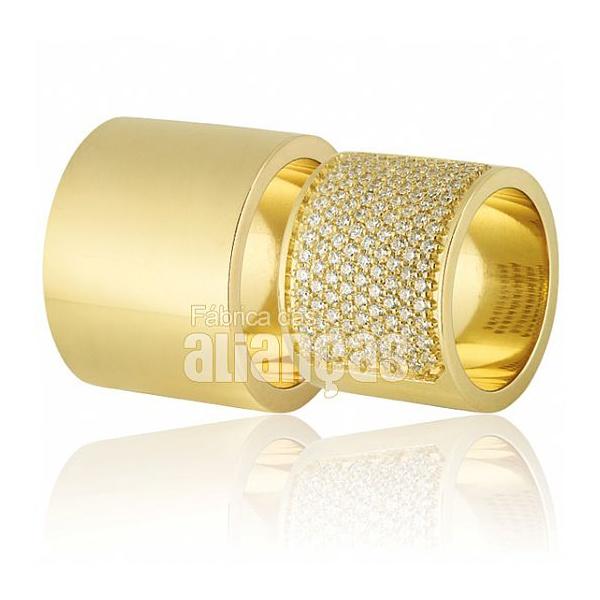 Alianças De Noivado e Casamento Em Ouro Amarelo 18k 0,750 Fa-705