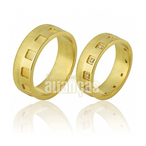 Alianças De Noivado e Casamento Em Ouro Amarelo 18k 0,750 Fa-706