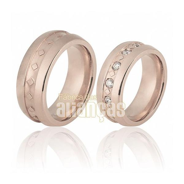 Aliança De Noivado e Casamento Em Ouro Rose 18k 0,750 Fa-707-r
