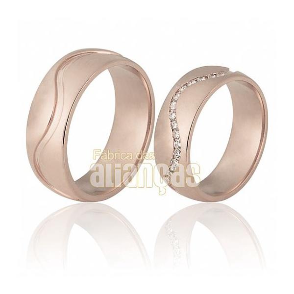 Aliança De Noivado e Casamento Em Ouro Rose 18k 0,750 Fa-711-r