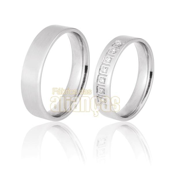 Aliança De Noivado e Casamento Em Ouro Branco 18k 0,750 Fa-712-b