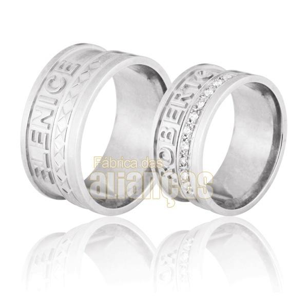 Alianças De Noivado e Casamento Em Ouro Branco 18k 0,750 Fa-713-b