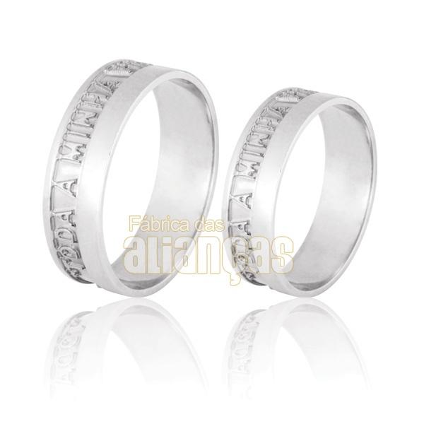 Aliança De Noivado e Casamento Em Ouro Branco 18k 0,750