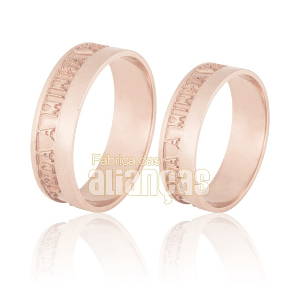 Aliança De Noivado e Casamento Em Ouro Rose 18k 0,750 Fa-715-r
