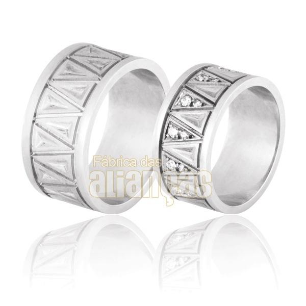 Aliança De Noivado e Casamento Em Ouro Branco 18k 0,750 Fa-716-b