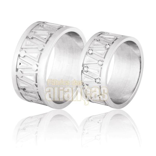 Aliança De Noivado e Casamento Em Ouro Branco 18k 0,750 Fa-717-b