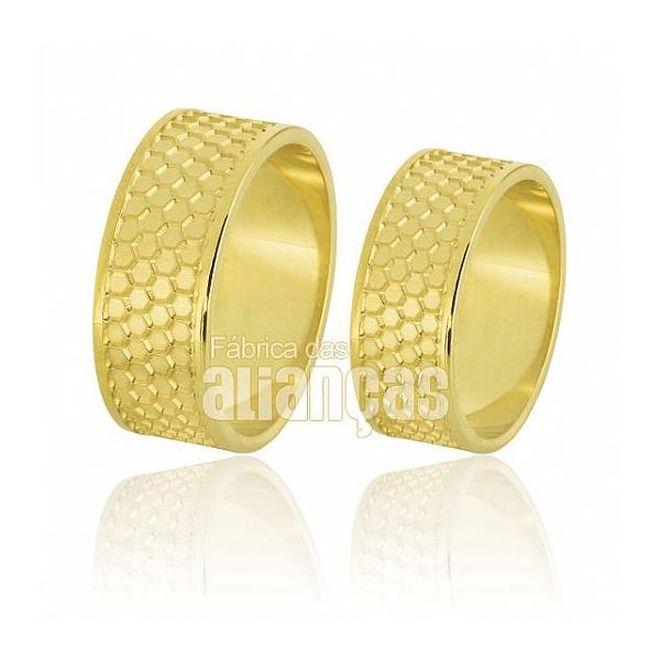 Alianças De Noivado e Casamento Em Ouro Amarelo 18k 0,750 Fa-719