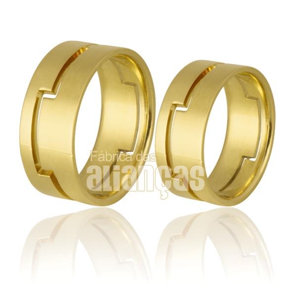 Alianças De Noivado e Casamento Em Ouro Amarelo 18k 0,750 Fa-727