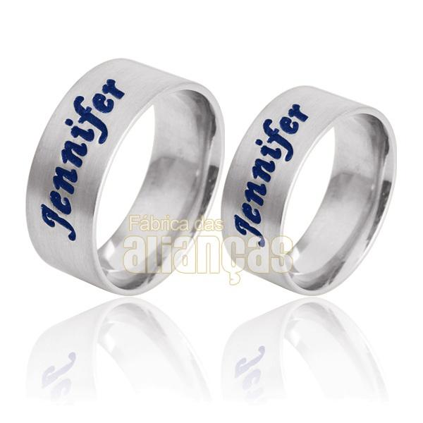 Aliança De Noivado e Casamento Em Ouro Branco 18k 0,750 Fa-738-b