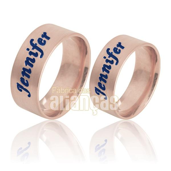 Aliança De Noivado e Casamento Em Ouro Rose 18k 0,750 Fa-738-r