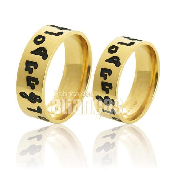 Alianças De Noivado e Casamento Em Ouro Amarelo 18k 0,750 Fa-740