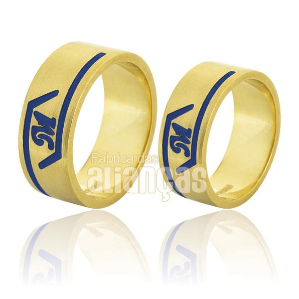 Alianças De Noivado e Casamento Em Ouro Amarelo 18k 0,750 Fa-746
