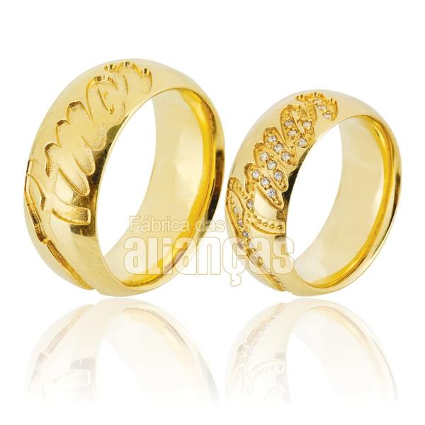 Alianças De Noivado e Casamento Em Ouro Amarelo 18k 0,750 Fa-749