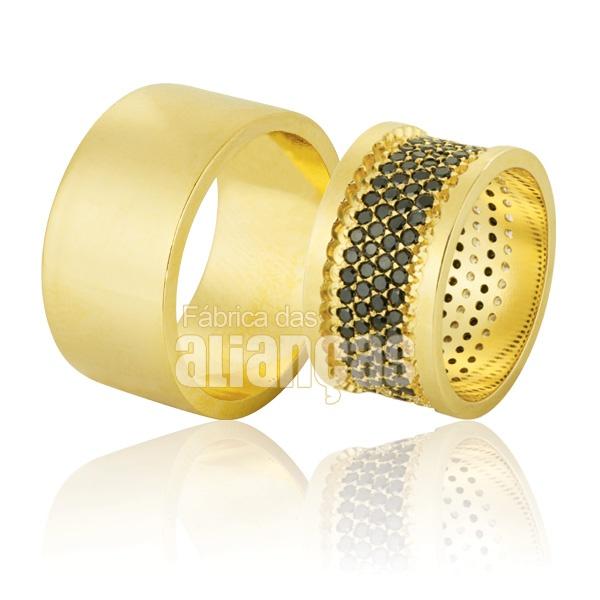 Alianças De Noivado e Casamento Em Ouro Amarelo 18k 0,750 Fa-781-black
