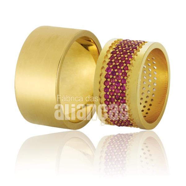 Alianças De Noivado e Casamento Em Ouro Amarelo 18k 0,750 Fa-781-rubi