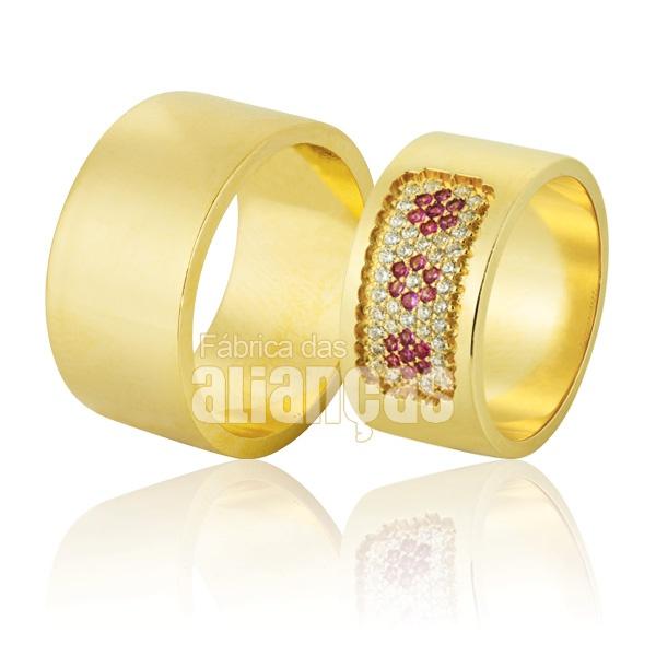 Alianças De Noivado e Casamento Em Ouro Amarelo 18k 0,750 Fa-869