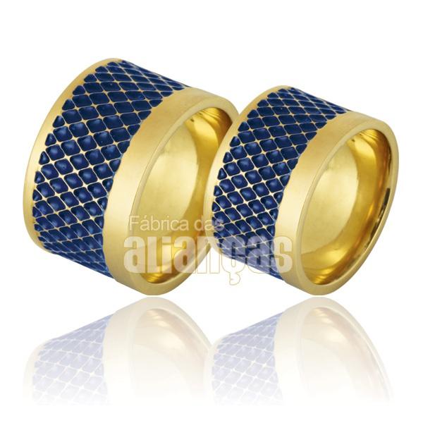 Alianças De Noivado e Casamento Em Ouro Amarelo 18k 0,750 Fa-759