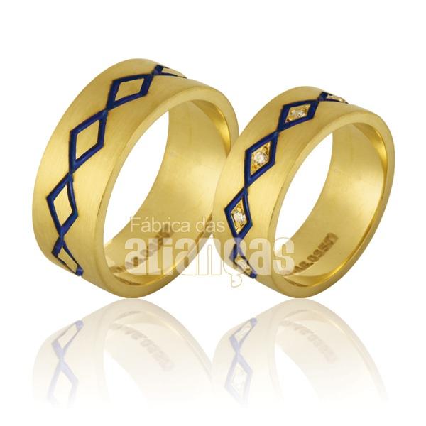 Alianças De Noivado e Casamento Em Ouro Amarelo 18k 0,750 Fa-762