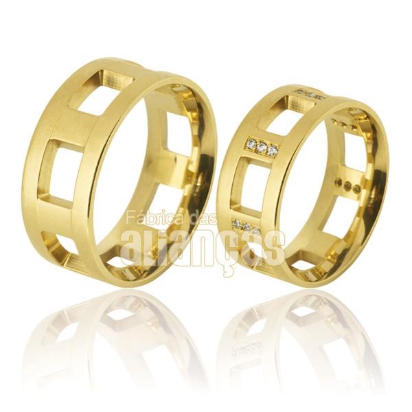 Alianças De Noivado e Casamento Em Ouro Amarelo 18k 0,750 Fa-763