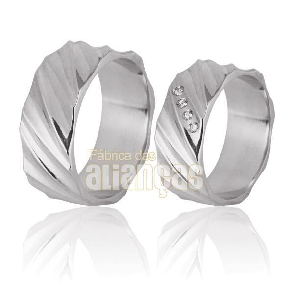 Aliança De Noivado e Casamento Em Ouro Branco 18k 0,750 Fa-764-b