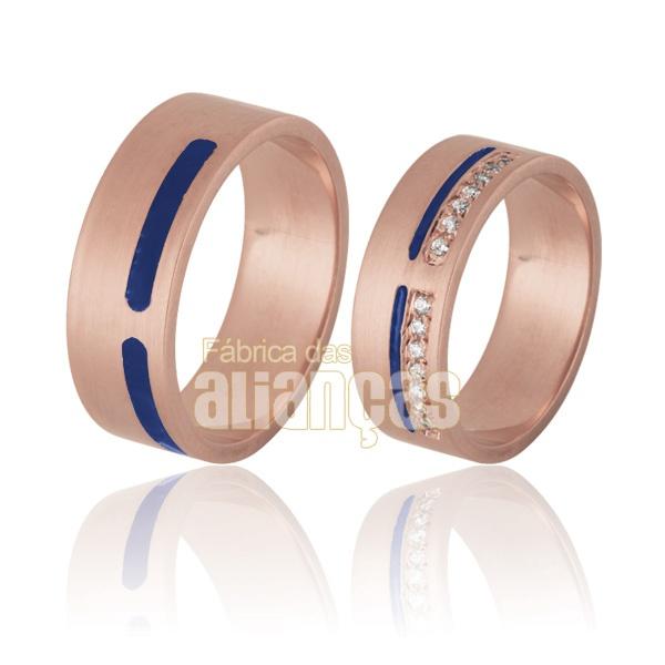 Aliança De Noivado e Casamento Em Ouro Rose 18k 0,750 Fa-765-r