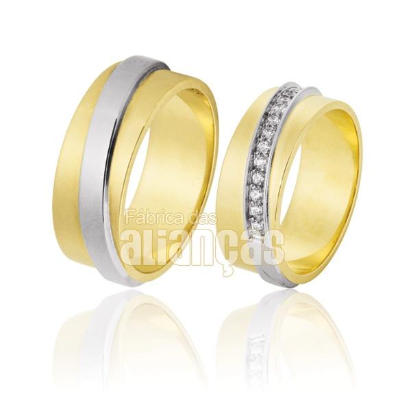 Alianças De Noivado e Casamento Em Ouro Amarelo 18k 0,750 Fa-769