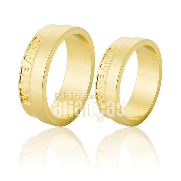 Alianças De Noivado e Casamento Em Ouro Amarelo 18k 0,750 Fa-770