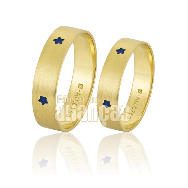 Alianças De Noivado e Casamento Em Ouro Amarelo 18k 0,750 Fa-771