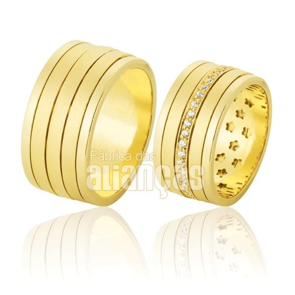 Alianças De Noivado e Casamento Em Ouro Amarelo 18k 0,750 Fa-774