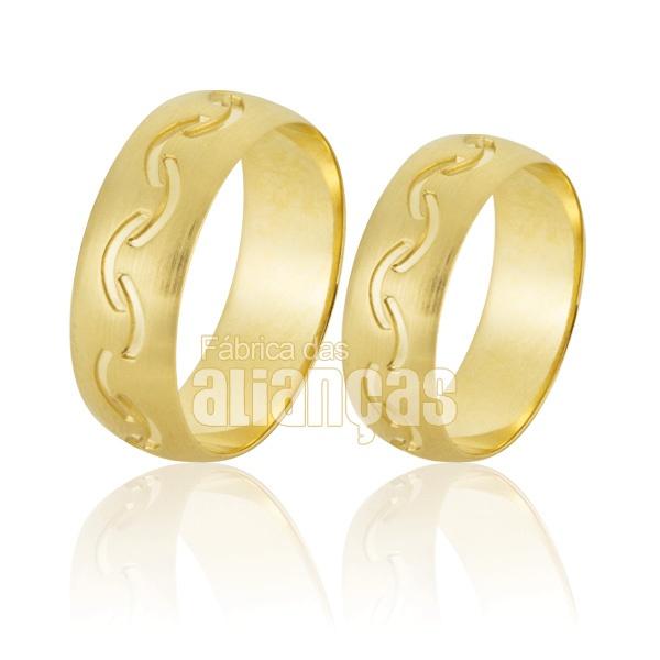 Alianças De Noivado e Casamento Em Ouro Amarelo 18k 0,750 Fa-776