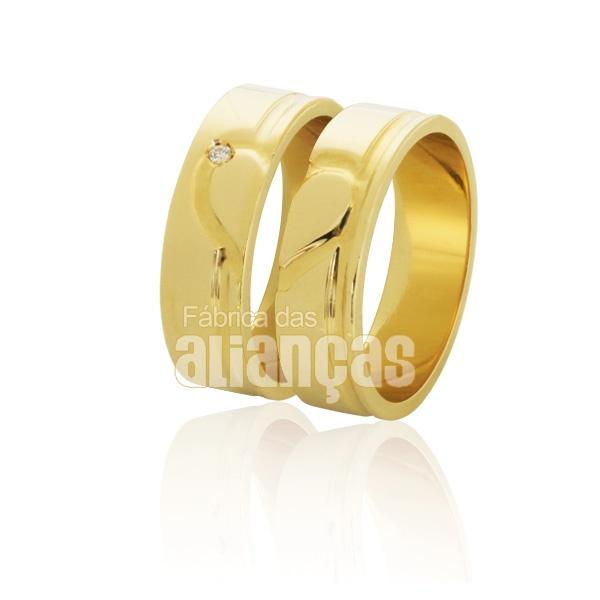Alianças De Noivado e Casamento Em Ouro Amarelo 18k 0,750 Fa-790